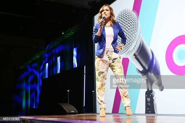 Comedian Anjelah Johnson performs at the NUVOtv Comedy Night at Los Angeles Convention Center on July 19 2014 in Los Angeles California