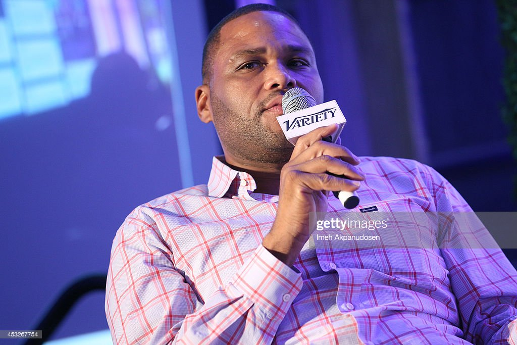 Comedian <a gi-track='captionPersonalityLinkClicked' href=/galleries/search?phrase=Anthony+Anderson&family=editorial&specificpeople=202577 ng-click='$event.stopPropagation()'>Anthony Anderson</a> speaks onstage at the 'TV's Creative Trailblazers' panel during Tune In! Variety's TV Summit at Intercontinental Century City on August 6, 2014 in Century City, California.