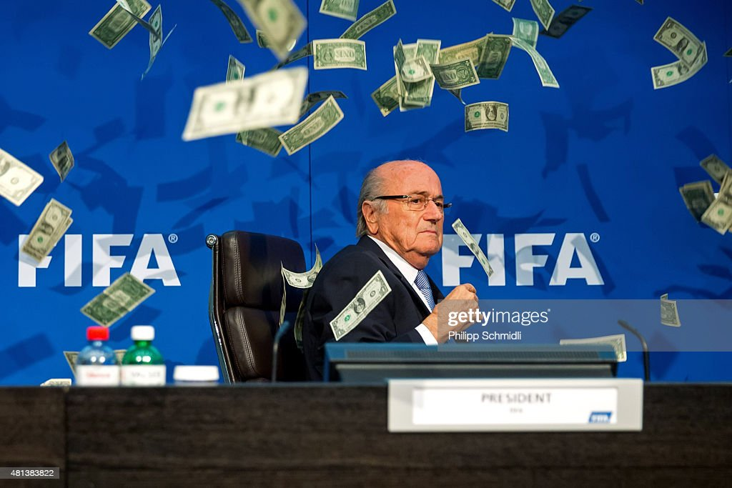 A comedian attacked FIFA President Joseph S. Blatter with money during a press conference at the Extraordinary FIFA Executive Committee Meeting at the FIFA headquarters on July 20, 2015 in Zurich, Switzerland.