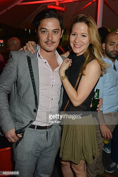 Comedian Aurelien Wiik and TV presenter Stephanie Loire attend 'La Boumette' Party at L'Opera Restaurant on June 7 2014 in Paris France