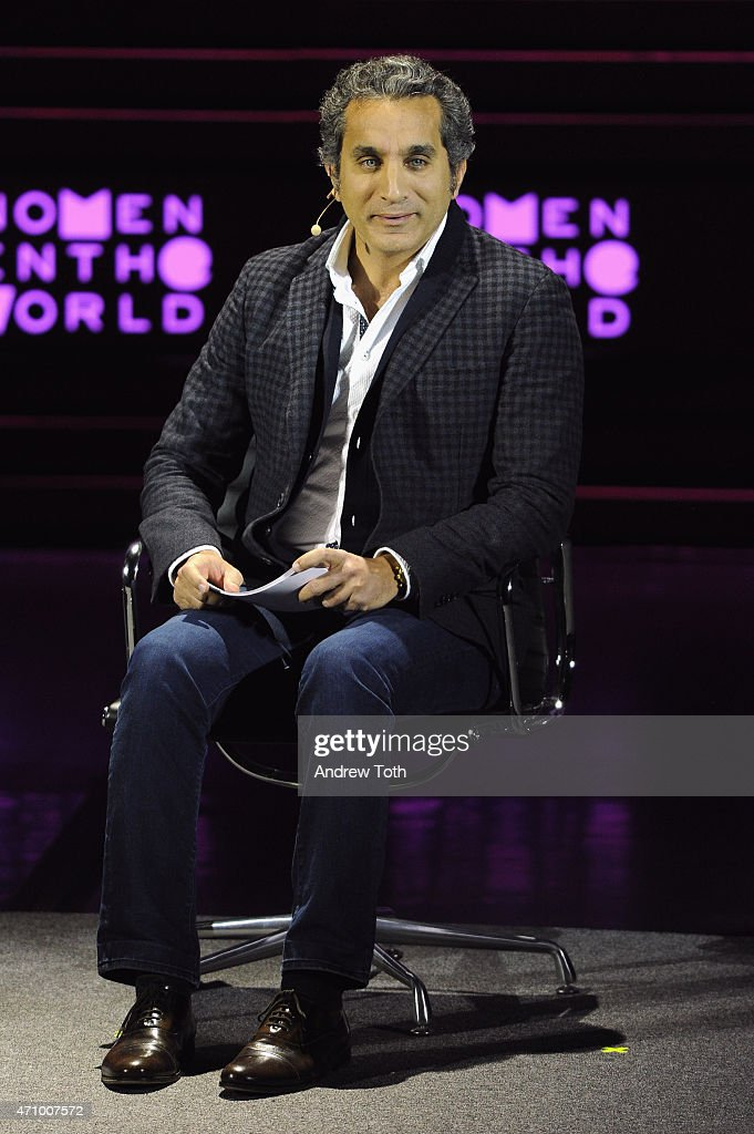 Comedian Bassem Youssef speaks on stage during the Women In The World Summit held in New York on April 24, 2015 in New York City.