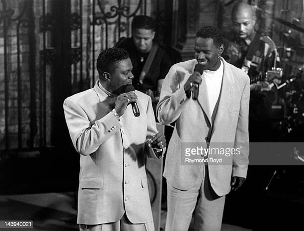 Comedian Bernie Mac and singer Brian McKnight performs at The Shelter in Chicago Illinois in JANUARY 1993