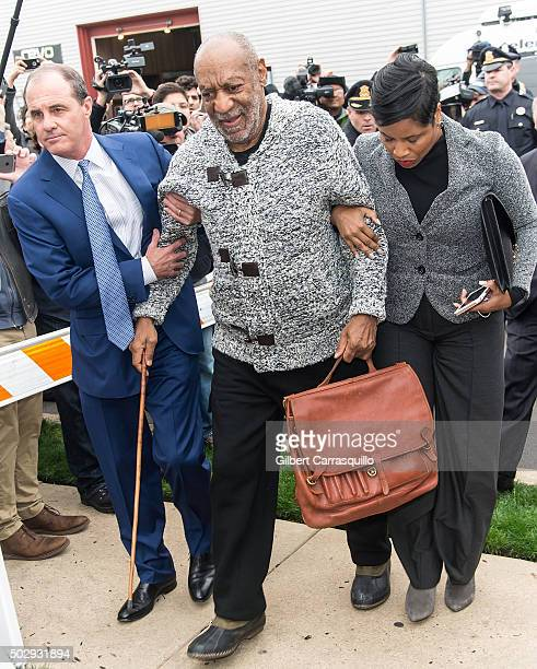 Comedian Bill Cosby arrives on December 30 2015 at the District Court in Elkins Park Pennsylvania Cosby has been charged for aggravated indecent...