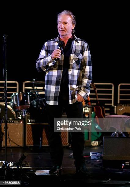 Comedian Bill Maher speaks onstage during Rock4EB Malibu with Jackson Browne David Spade sponsored by Suja Juice Sabra Hummus at Private Residence on...