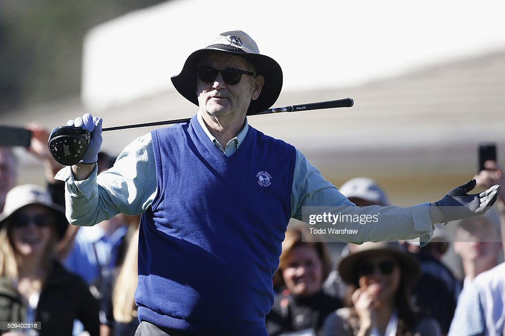 Comedian <a gi-track='captionPersonalityLinkClicked' href=/galleries/search?phrase=Bill+Murray&family=editorial&specificpeople=171116 ng-click='$event.stopPropagation()'>Bill Murray</a> prepares to tee off on the 1st hole during the 3M Celebrity Challenge prior to the AT&T Pebble Beach National Pro-Am at Pebble Beach Golf Links on February 10, 2016 in Pebble Beach, California.