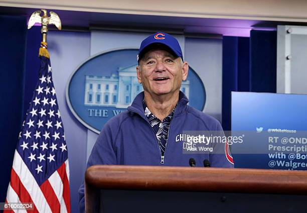 Comedian Bill Murray visits the James Brady Press Briefing Room at the White House October 21 2016 in Washington DC Murray is in Washington to...
