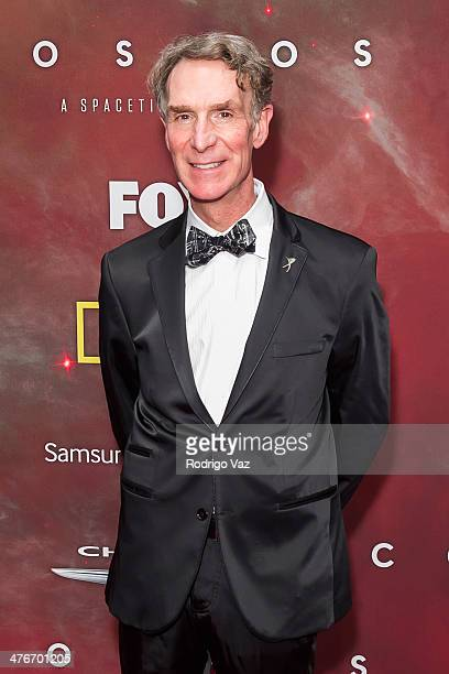 Comedian Bill Nye attends the premiere of Fox's 'Cosmos A SpaceTime Odyssey' at The Greek Theatre on March 4 2014 in Los Angeles California