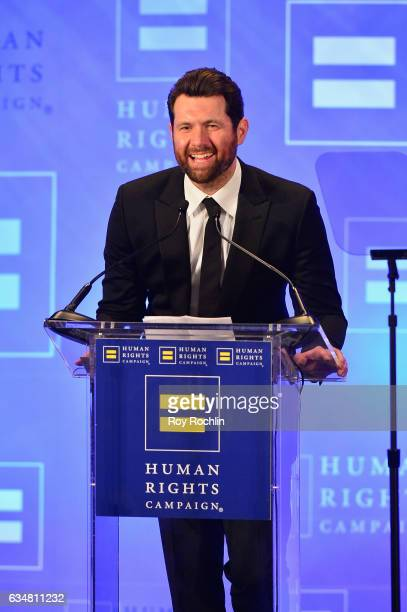 Comedian Billy Eichner speaks onstage during the 2017 Human Rights Campaign Greater New York Gala at Waldorf Astoria Hotel on February 11 2017 in New...