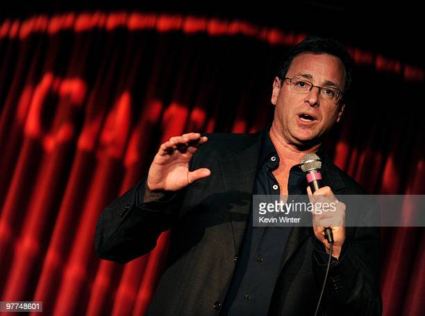 Comedian Bob Saget performs at the Alliance for Children's Rights 'Right to Laugh' fundraiser at the Catalina Club on March 15 2010 in Hollywood...
