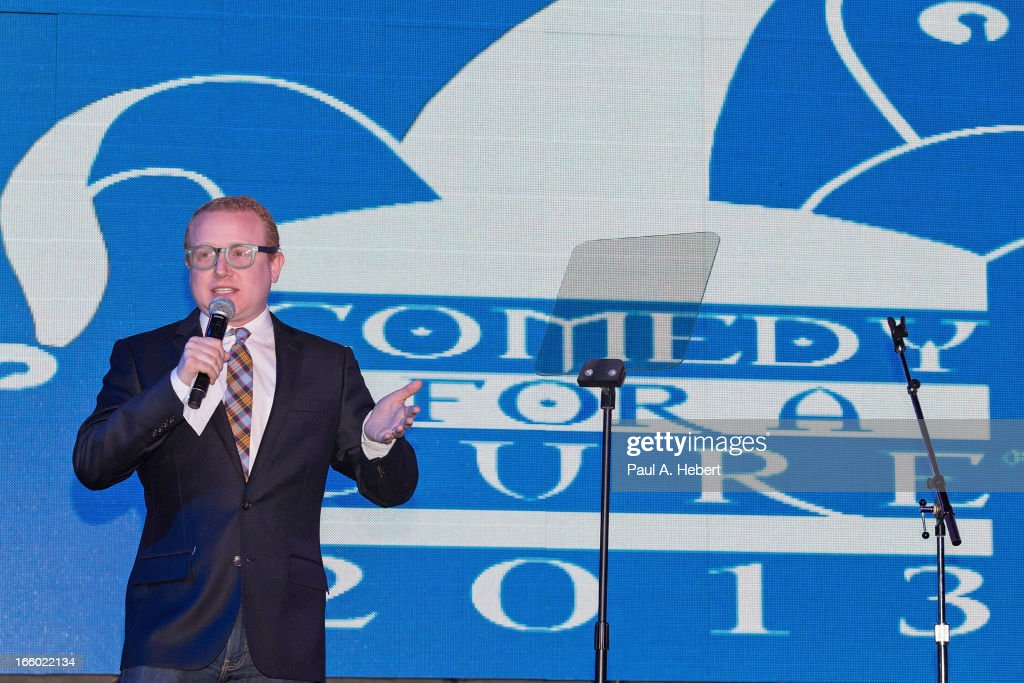 Comedian Brad Wollack on stage during the Comedy for a Cure benefit held at Lure on April 7, 2013 in Hollywood, California.
