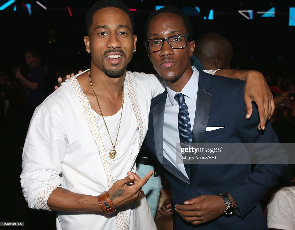 Comedian <a gi-track='captionPersonalityLinkClicked' href=/galleries/search?phrase=Brandon+T.+Jackson+-+Actor&family=editorial&specificpeople=865581 ng-click='$event.stopPropagation()'>Brandon T. Jackson</a> (L) and President & CEO of L. Plummer Media Lemuel Plummer attend the 2016 BET Awards at the Microsoft Theater on June 26, 2016 in Los Angeles, California.