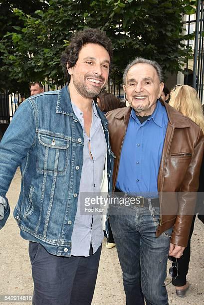 Comedian Bruno Salomone and actor Jean Pierre Kalfon attends La Fete des Tuileries on June 24 2016 in Paris France