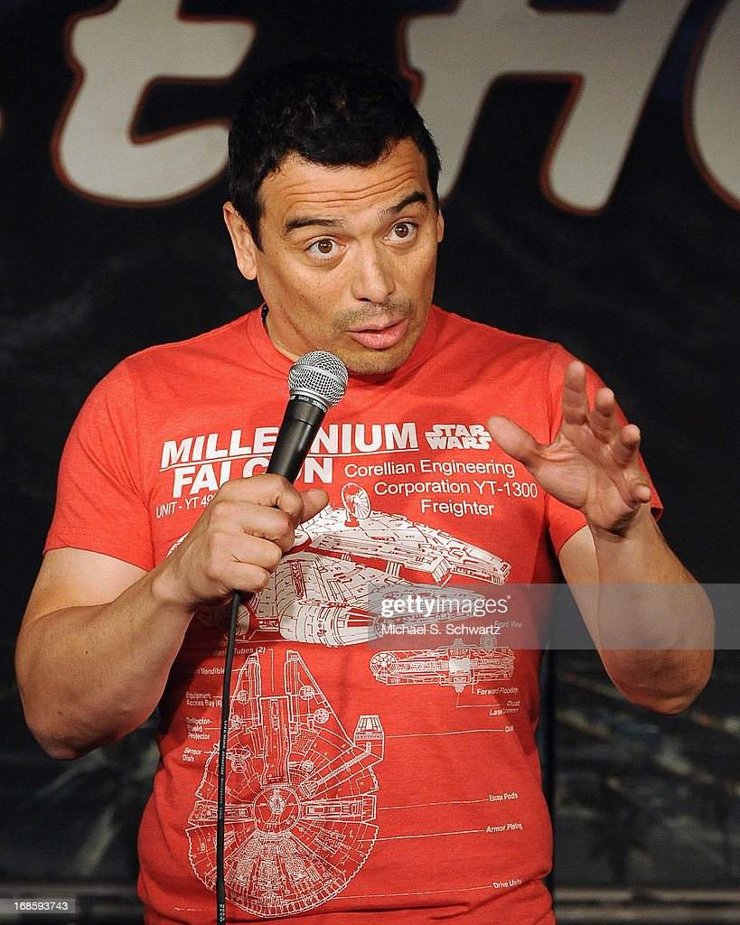 Comedian <a gi-track='captionPersonalityLinkClicked' href=/galleries/search?phrase=Carlos+Mencia&family=editorial&specificpeople=539025 ng-click='$event.stopPropagation()'>Carlos Mencia</a> performs during his appearance at The Ice House Comedy Club on May 11, 2013 in Pasadena, California.
