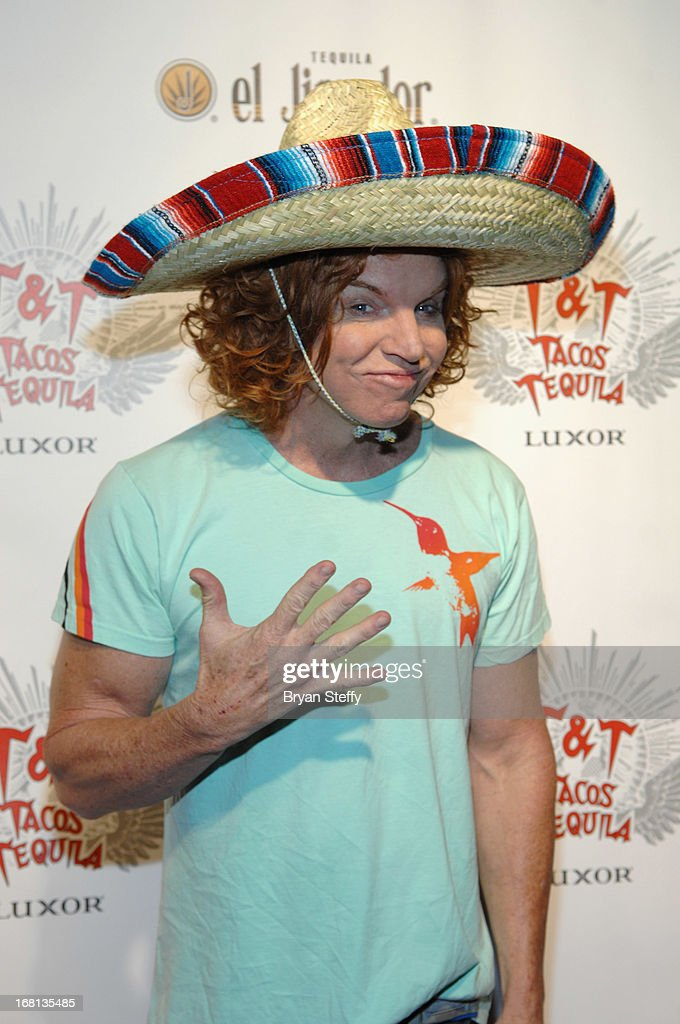 Comedian Carrot Top arrives at Tacos & Tequila's Cinco de Mayo celebration at the Luxor Resort & Casino on May 5, 2013 in Las Vegas, Nevada.