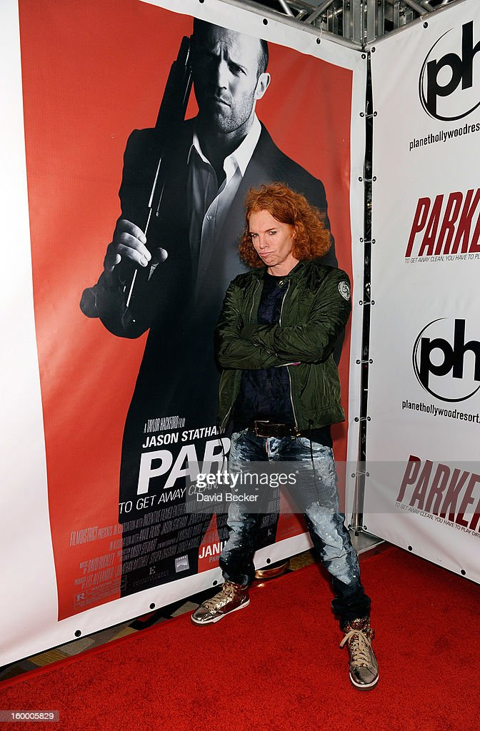 Comedian Carrot Top arrives at the premiere of FilmDistrict's 'Parker' at Planet Hollywood Resort & Casino on January 24, 2013 in Las Vegas, Nevada.