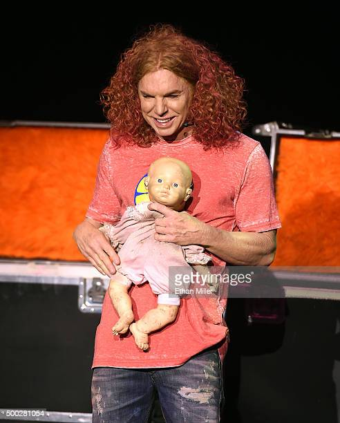 Comedian Carrot Top performs during the 10th anniversary celebration of his residency at the Luxor Hotel and Casino on December 6 2015 in Las Vegas...
