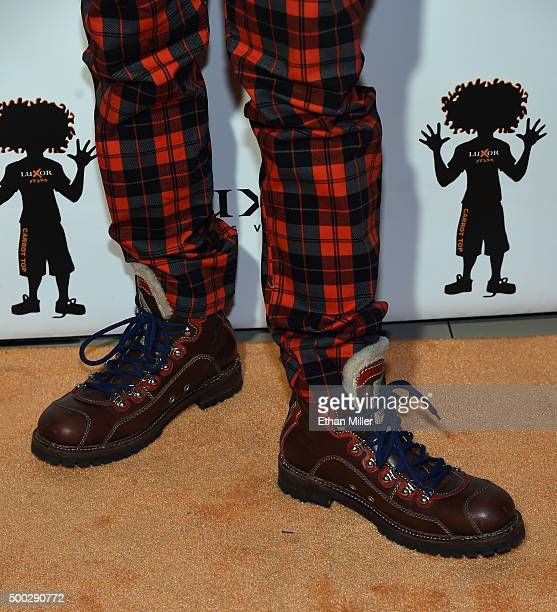 Comedian Carrot Top shoes detail attends the 10th anniversary celebration of his residency at the Luxor Hotel and Casino on December 6 2015 in Las...