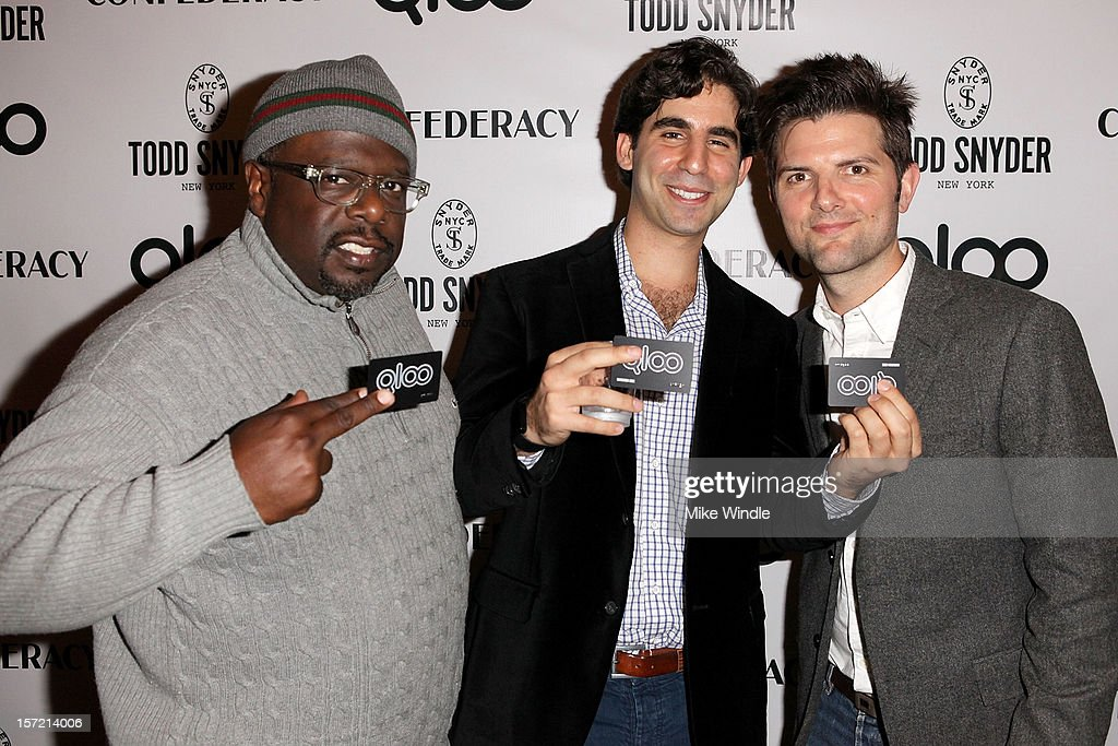 Comedian <a gi-track='captionPersonalityLinkClicked' href=/galleries/search?phrase=Cedric+the+Entertainer&family=editorial&specificpeople=210583 ng-click='$event.stopPropagation()'>Cedric the Entertainer</a>, Qloo CEO Alex Elias and actor Adam Scott attend Adam Scott hosts Todd Snyder Event sponsored by Qloo at Confederacy on November 29, 2012 in Los Angeles, California.