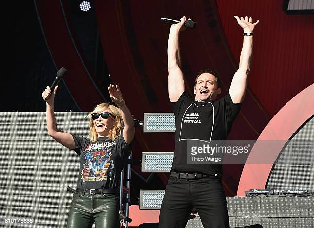 Comedian Chelsea Handler and actor Hugh Jackman speak onstage at the 2016 Global Citizen Festival In Central Park To End Extreme Poverty By 2030 at...
