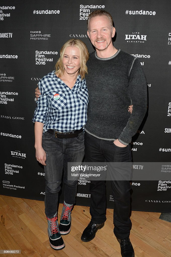 Comedian Chelsea Handler, and documentary filmmaker Morgan Spurlock attend the Cinema Cafe during 2016 Sundance Film Festival at Filmmaker Lodge on January 23, 2016 in Park City, Utah.