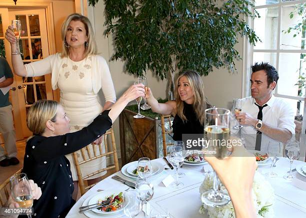 Comedian Chelsea Handler author Arianna Huffington and actors Jennifer Aniston and Justin Theroux attend as Arianna Huffington hosts a special lunch...