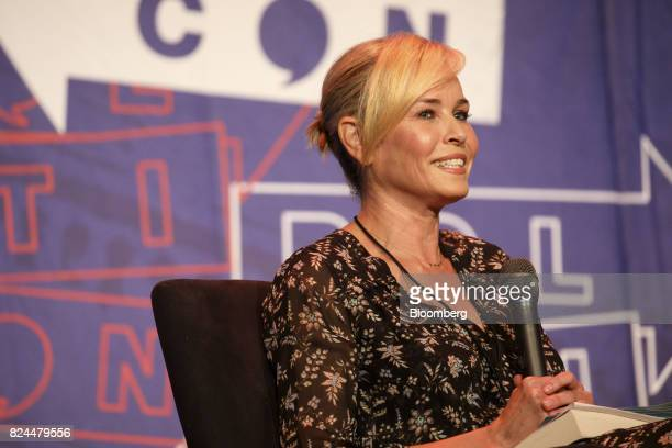 Comedian Chelsea Handler smiles during a panel discussion with political commentator Tomi Lahren not pictured at the Politicon convention inside the...