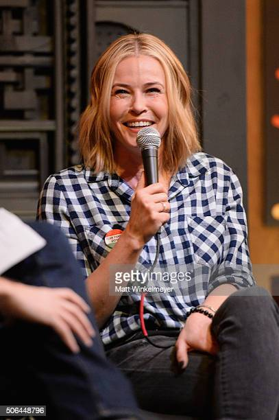 Comedian Chelsea Handler speaks at the Cinema Cafe during 2016 Sundance Film Festival at Filmmaker Lodge on January 23 2016 in Park City Utah