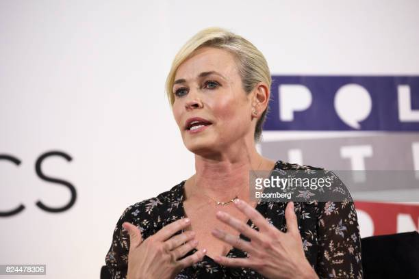 Comedian Chelsea Handler speaks with Jake Tapper chief Washington correspondent for CNN not pictured during the Politicon convention inside the...