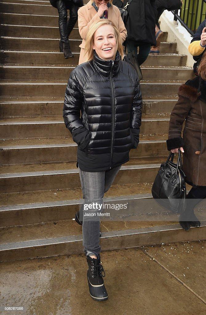 Comedian Chelsea Handler wears Sorels around Park City on January 22, 2016 in Park City, Utah.