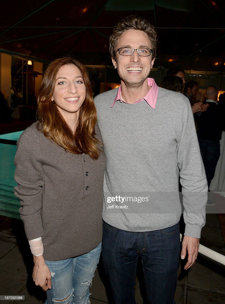 Comedian Chelsea Peretti (L) and BuzzFeed CEO and founder Jonah Peretti (R) and attend BuzzFeed's Los Angeles Bureau Party at SkyBar at the Mondrian Los Angeles on November 29, 2012 in West Hollywood, California.