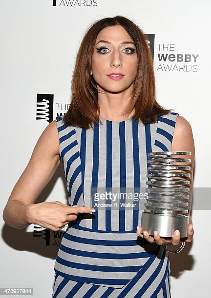 Comedian Chelsea Peretti poses with her Webby Award for Outstanding Comedic Performance at the 19th Annual Webby Awards on May 18 2015 in New York...