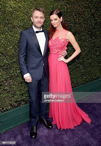 Comedian Chris Hardwick and actress Lydia Hearst attend ROCA PATRON TEQUILA at the 23rd Annual Elton John AIDS Foundation Academy Awards Viewing...