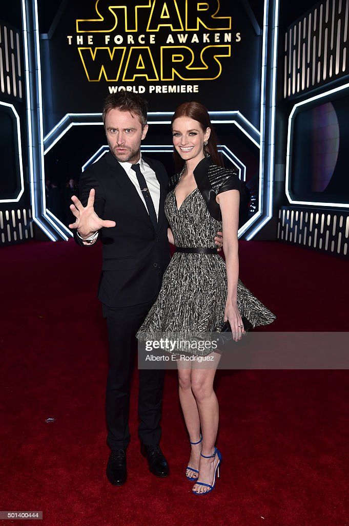 "Comedian Chris Hardwick and actress Lydia Hearst attend the World Premiere of ""Star Wars The Force Awakens"" at the Dolby El Capitan and TCL Theatres..."
