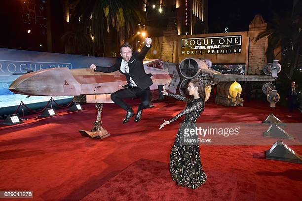 Comedian Chris Hardwick and model Lydia Hearst attend The World Premiere of Lucasfilm's highly anticipated firstever standalone Star Wars adventure...
