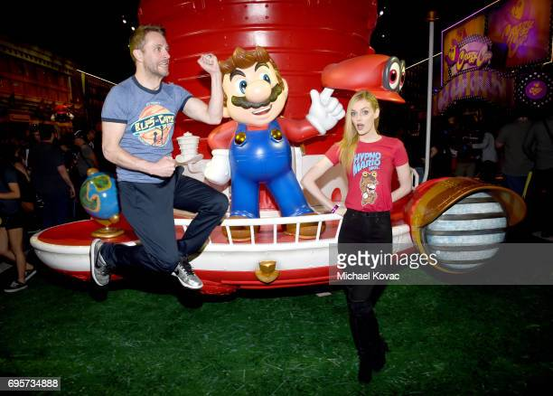 Comedian Chris Hardwick and model Lydia Hearst visit the Nintendo booth at the 2017 E3 Gaming Convention at Los Angeles Convention Center on June 13...