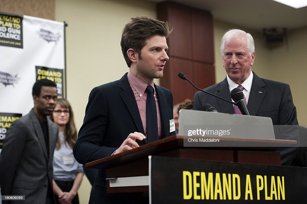 Comedian Chris Rock; actor Amanda Peet; actor Adam Scott; and Rep. Mike Thompson, D-Calif., speak at a press conference at the U.S. Capitol to call on Congress to act on President Obama's plan to reduce gun violence, including background checks for all gun sales and an assault weapons ban.