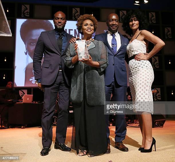 Comedian Chris Spencer joins actress/comedian Jenifer Lewis American Black Film Festival Founder Jeff Friday and actress Tracee Ellis Ross as Jenifer...