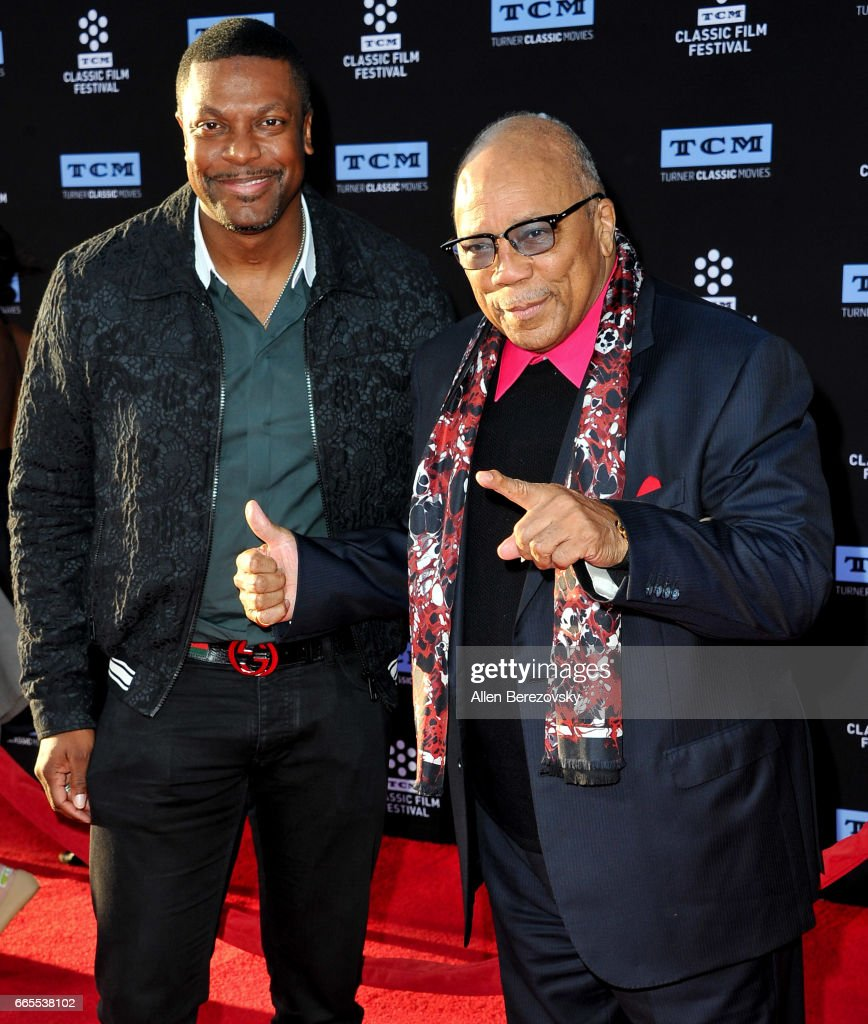 Comedian Chris Tucker (L) and music producer Quincy Jones attend 2017 TCM Classic Film Festival's opening night gala and 50th anniversary screening of 'In The Heat Of The Night' at TCL Chinese Theatre IMAX on April 6, 2017 in Hollywood, California.