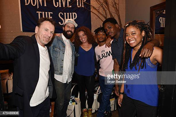 Comedian Colin Quinn Brett Gelman Michelle Wolf Jermaine Fowler Kevin Barnett and Phoebe Robinson pose backstage at the Vulture Festival Presents...