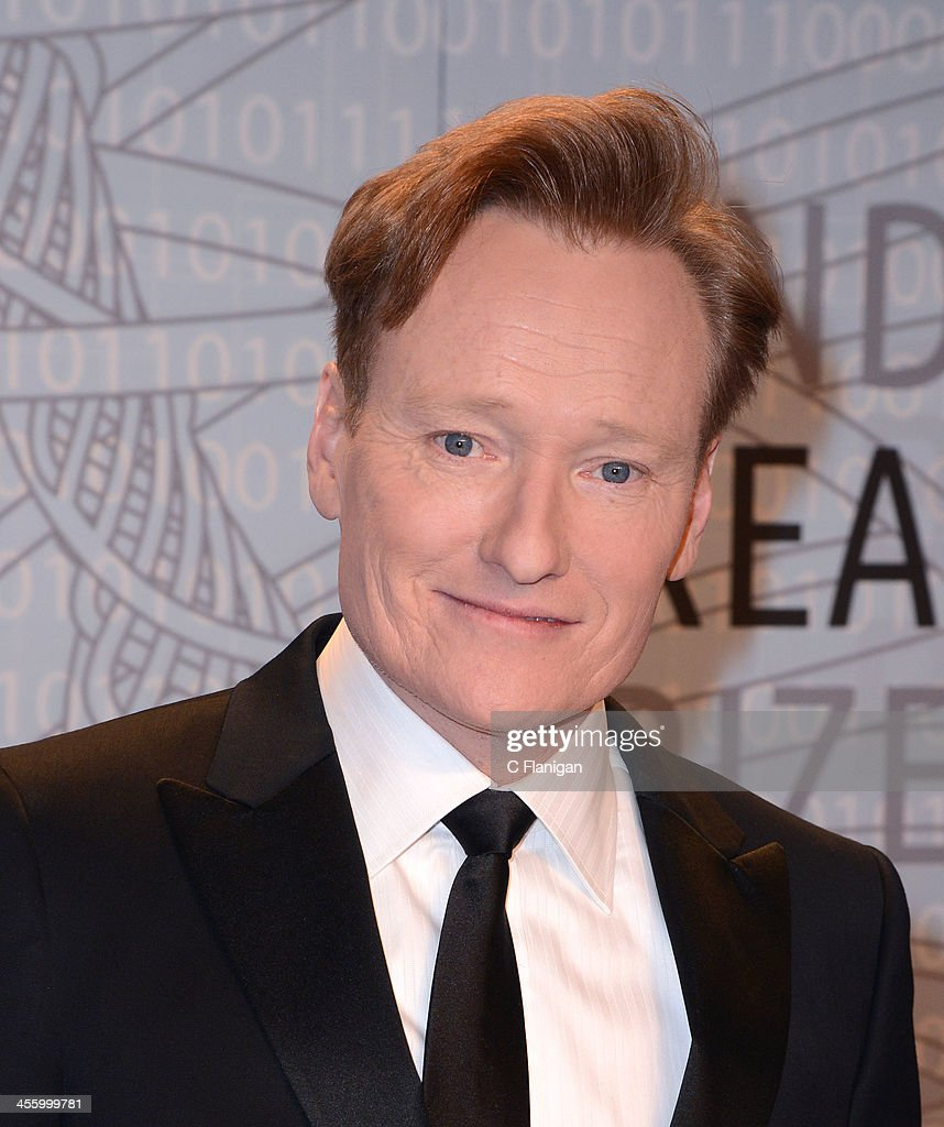Comedian Conan O'Brien arrives at the Breakthrough Prize Inaugural Ceremony at NASA Ames Research Center on December 12 2013 in Mountain View...