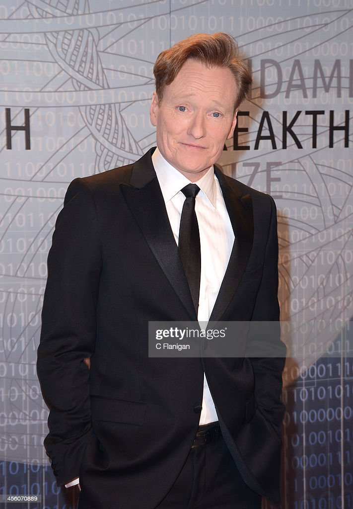 Comedian <a gi-track='captionPersonalityLinkClicked' href=/galleries/search?phrase=Conan+O%27Brien&family=editorial&specificpeople=208095 ng-click='$event.stopPropagation()'>Conan O'Brien</a> arrives at the Breakthrough Prize Inaugural Ceremony at NASA Ames Research Center on December 12, 2013 in Mountain View, California.