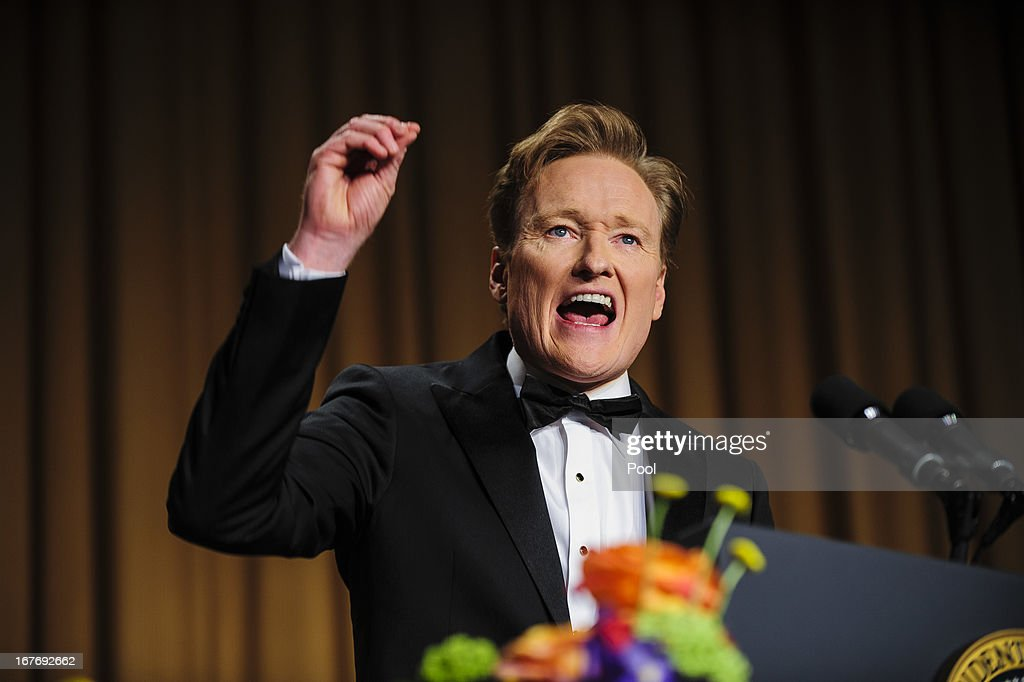 Comedian <a gi-track='captionPersonalityLinkClicked' href=/galleries/search?phrase=Conan+O%27Brien&family=editorial&specificpeople=208095 ng-click='$event.stopPropagation()'>Conan O'Brien</a> delivers a comedy routine during the White House Correspondents' Association Dinner on April 27, 2013 in Washington, DC. The dinner is an annual event attended by journalists, politicians and celebrities.