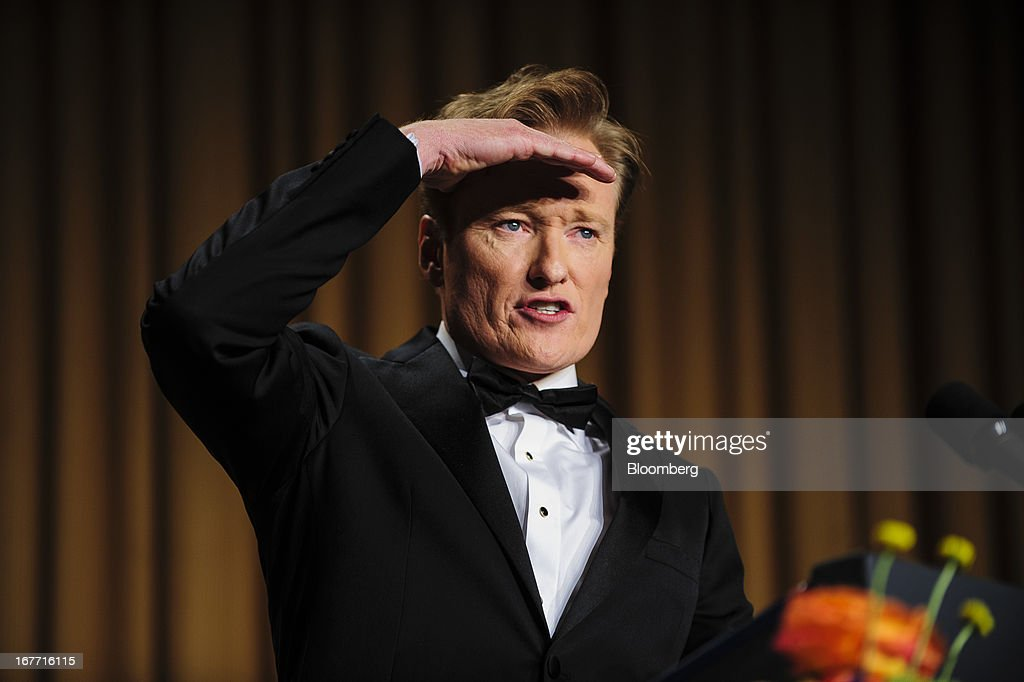 Comedian <a gi-track='captionPersonalityLinkClicked' href=/galleries/search?phrase=Conan+O%27Brien&family=editorial&specificpeople=208095 ng-click='$event.stopPropagation()'>Conan O'Brien</a> delivers a comedy routine during the White House Correspondents' Association (WHCA) dinner in Washington, District of Columbia, U.S., on Saturday, April 27, 2013. The 99th annual dinner raises money for WHCA scholarships and honors the recipients of the organization's journalism awards. Photographer: Pete Marovich/Bloomberg via Getty Images