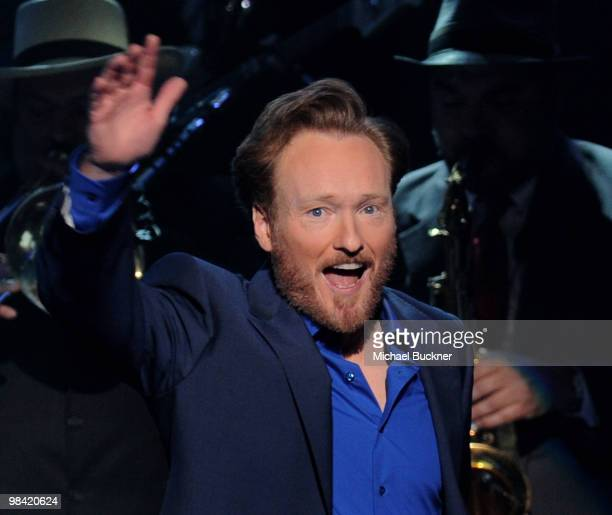 Comedian Conan O'Brien performs at the opening night of 'The Legally Prohibited From Being Funny On TV Tour' at the Hult Center for the Performing...