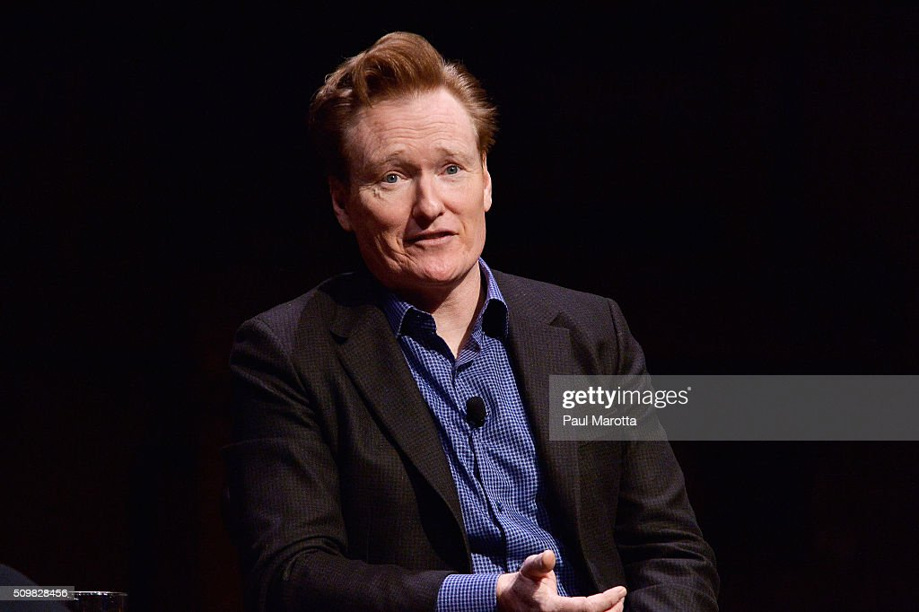 Comedian <a gi-track='captionPersonalityLinkClicked' href=/galleries/search?phrase=Conan+O%27Brien&family=editorial&specificpeople=208095 ng-click='$event.stopPropagation()'>Conan O'Brien</a> speaks at Harvard University with President Drew Gilpin Faust about his career and arts and education at Harvard University's Sanders Theatre on February 12, 2016 in Cambridge, Massachusetts.