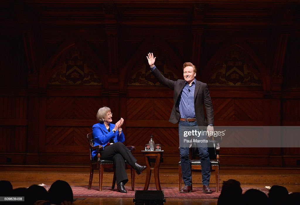 Comedian Conan O'Brien speaks at Harvard University with President Drew Gilpin Faust about his career and arts and education at Harvard University's Sanders Theatre on February 12, 2016 in Cambridge, Massachusetts.