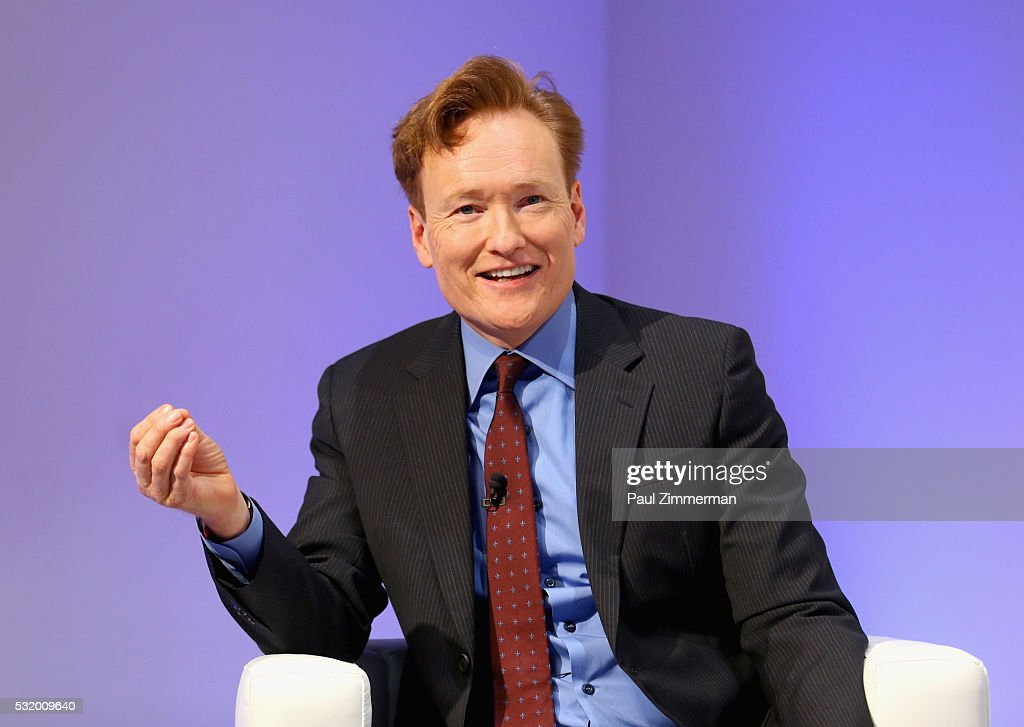 Comedian <a gi-track='captionPersonalityLinkClicked' href=/galleries/search?phrase=Conan+O%27Brien&family=editorial&specificpeople=208095 ng-click='$event.stopPropagation()'>Conan O'Brien</a> speaks onstage during TBS Night Out at The New Museum on May 17, 2016 in New York City.