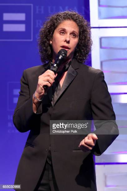Comedian Dana Goldberg speaks onstage at The Human Rights Campaign 2017 Los Angeles Gala Dinner at JW Marriott Los Angeles at LA LIVE on March 18...