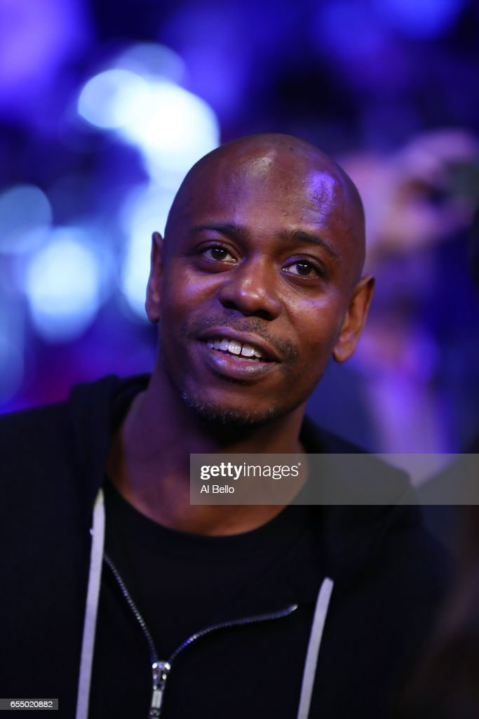 Comedian Dave Chappelle looks on before the bout between Roman 'Chocolatito' Gonzalez and Srisaket Sor Rungvisai for Gonzalez's WBC junior bantamweight title at Madison Square Garden on March 18, 2017 in New York City.