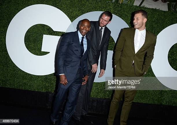 Comedian Dave Chappelle professional basketball player Spencer Hawes and professional basketball player Blake Griffin attend the 2014 GQ Men Of The...